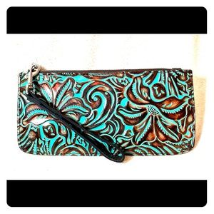 Patricia Nash floral clutch purse tooled turquoise